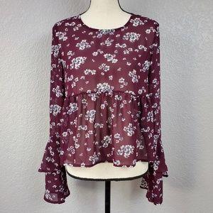 Aeropostale sheer floral bell sleeve peplum blouse
